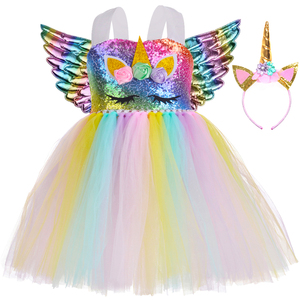 Kids Unicorn Dress for Girls Halloween Carnival Costume Pastel Rainbow Sequins Girl Unicorn Birthday Party Tutu Dress Outfit(China)