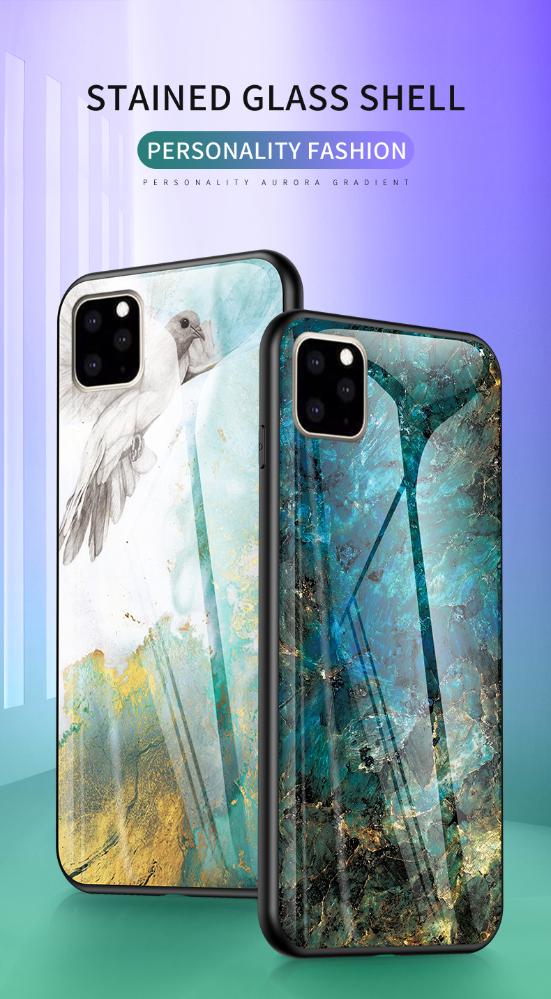 KEYSION Marble Tempered Glass Case for iPhone 11/11 Pro/11 Pro Max 31