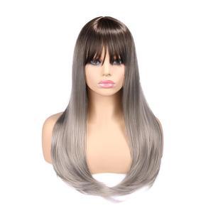 Image 3 - お気に入り合成かつらストレート亜麻シルバー 20 インチ側部強打グラデーションカラー毛先自然なサイズ調整黒人女性