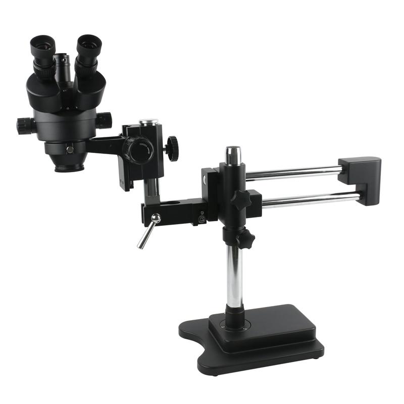 3.5X-90X Double bras Boom Stand trinoculaire stéréo Zoom Microscope pour téléphone portable puce CPU montre réparation bijoux Identification