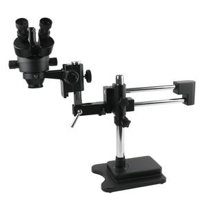Image 1 - 3.5X 90X כפול זרוע בום Stand סטריאו Trinocular זום מיקרוסקופ עבור טלפון נייד שבב מעבד שעון תיקון תכשיטי זיהוי