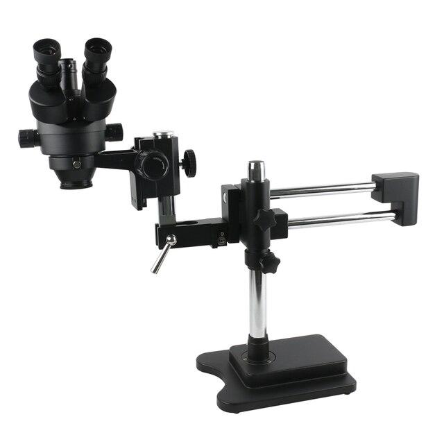 3.5X 90X כפול זרוע בום Stand סטריאו Trinocular זום מיקרוסקופ עבור טלפון נייד שבב מעבד שעון תיקון תכשיטי זיהוי