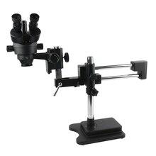 3.5X 90X คู่ขาตั้งบูม Trinocular Stereo Zoom กล้องจุลทรรศน์สำหรับโทรศัพท์มือถือชิป CPU นาฬิกาซ่อมการระบุเครื่องประดับ