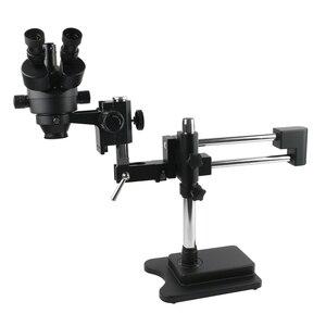 Image 1 - 3.5X 90X podwójne ramię wysięgnik Trinocular Stereo mikroskop zoomowy do telefonu komórkowego Chip CPU do naprawy zegarków biżuteria identyfikacja