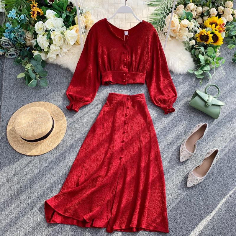 MUMUZI Fashion Women Beach Wear Short Design Front Buttons Tops And Long Skirt 2pcs Set Solid Color Blouses And Side Open Skirt