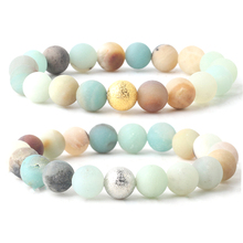 Gold Silver Beads Couple Bracelet Natural Stone Matte Amazonite Round Beads Chain length 19cm For Men Women 4mm 6mm 8mm 10mm