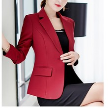 Jackets Business-Suit Women Blazers Korean Coat Spring Slim Formal Office Lady Wine And