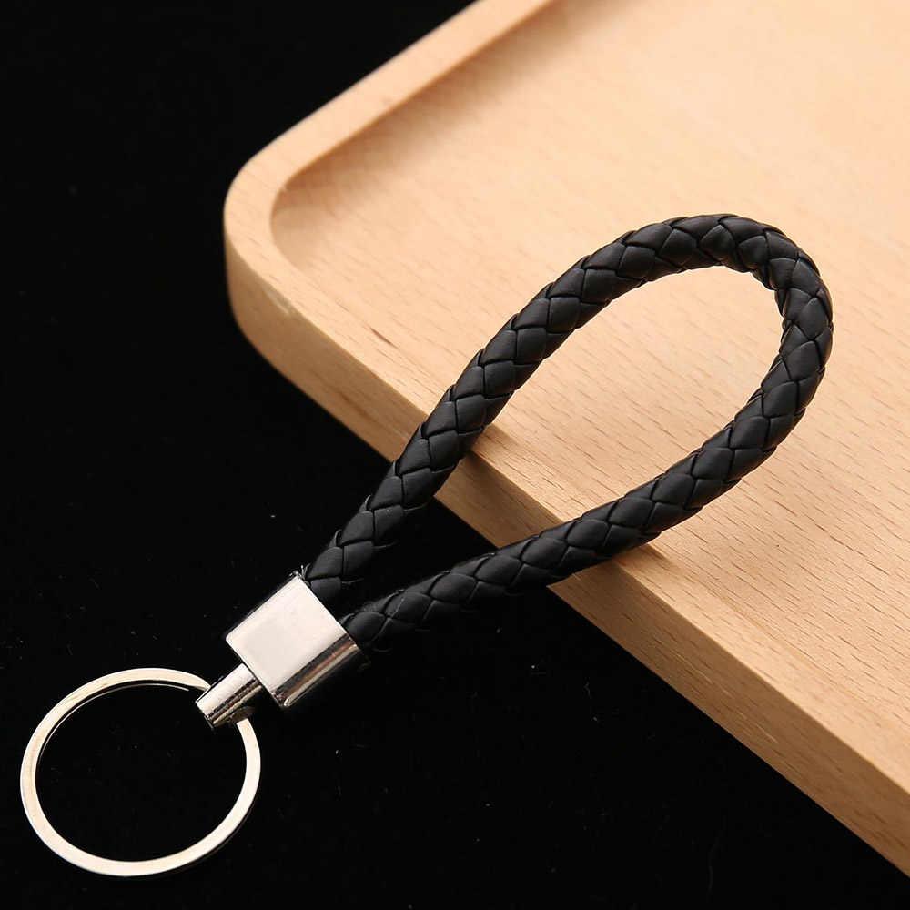 Großhandel preis PU Leder Geflochtene Woven Seil keychain DIY tasche Anhänger Schlüssel Kette Halter Auto Schlüsselring Männer Frauen Schlüssel ring
