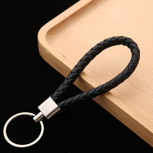 wholesale price PU Leather Braided Woven Rope keychain DIY bag Pendant Key Chain Holder Car Keyring Men Women Key ring(China)