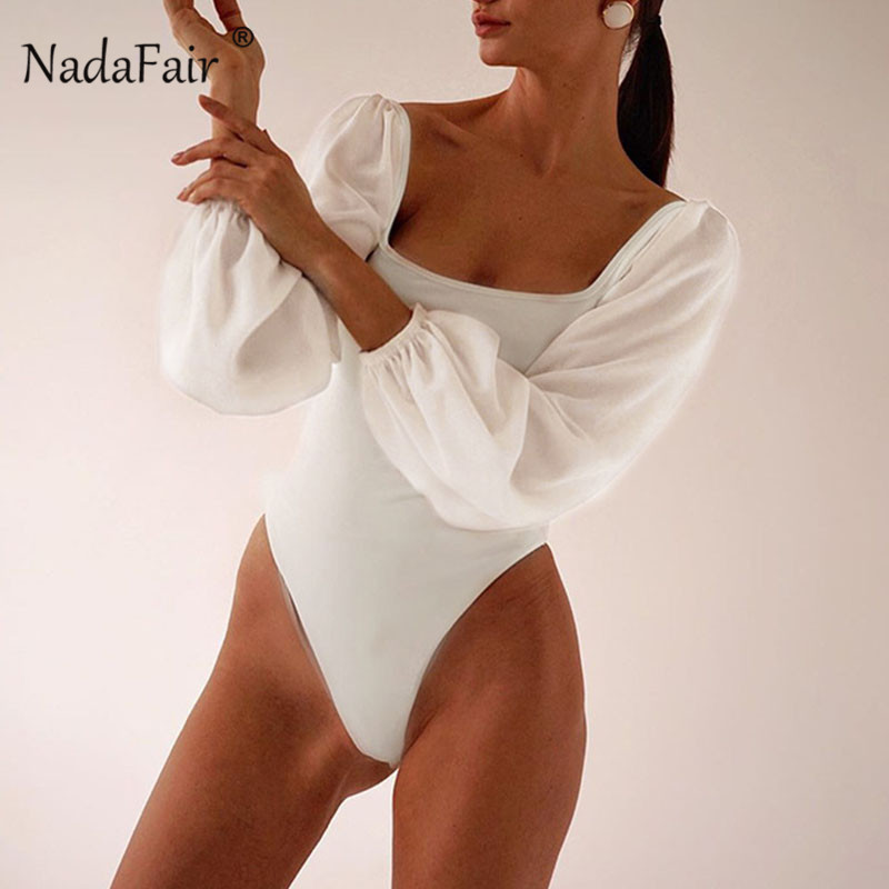 Nadafair Long Sleeve Puff Bodysuit Women Solid Square Collar Black Sexy Bodysuit For Woman Backless White Body Female