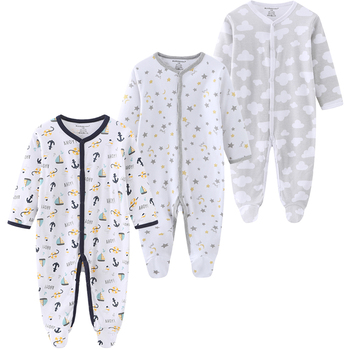 0-12Months Baby Rompers Newborn Girls&Boys 100%Cotton Clothes of Long Sheeve 1/2/3Piece Infant Clothing Pajamas Overalls Cheap - baby romper13, 6M