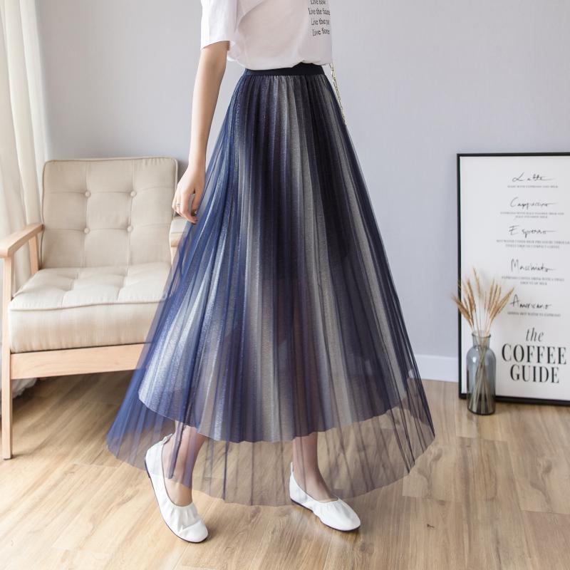 Photo Shoot 2019 New Style Korean-style Pleated Skirt Women's Autumn CHIC Star Gradient Gauze Long Skirts Fairy Skirt
