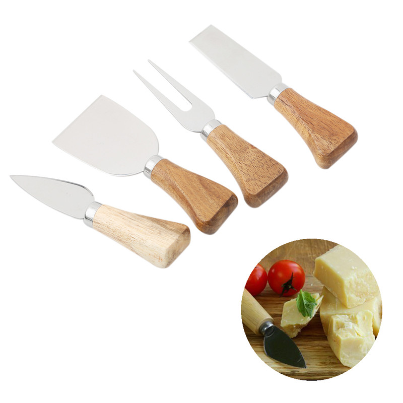 4PCs/ Set <font><b>Knives</b></font> <font><b>Cheese</b></font> Grater <font><b>Board</b></font> Set Bamboo Wood Handle <font><b>Cheese</b></font> <font><b>Knife</b></font> Slicer Kit Kitchen Cooking Tool <font><b>Cheese</b></font> Cutter Slicer image
