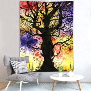 Simsant Colorful Tree Tapestry Hippie Psychedelic Forest Abstract Art Wall Hanging Tapestries for Living Room Home Dorm Decor