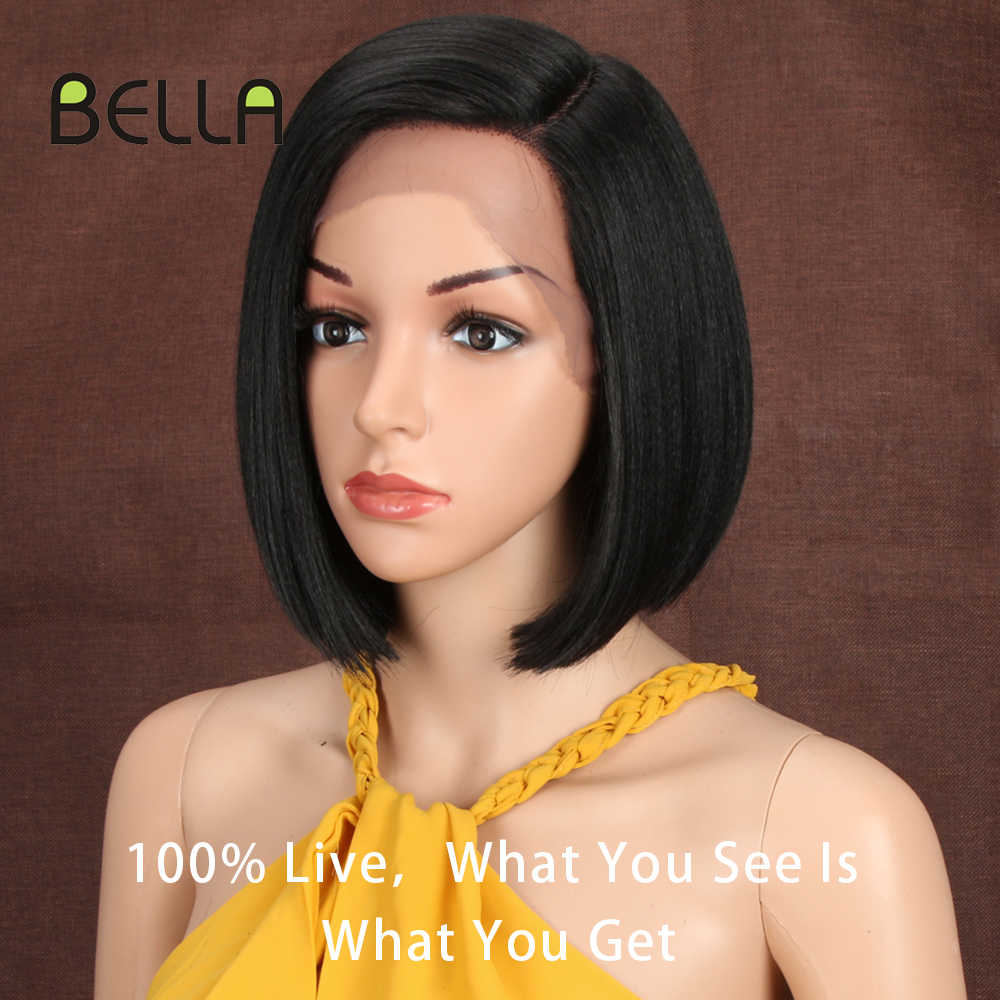 Bella Korte Blonde Bob Pruik Voor Vrouwen 10 Inch Synthetische Lace Front Pruik Zwart Ombre 613 Bruin Rechte Synthetisch Haar side Deel
