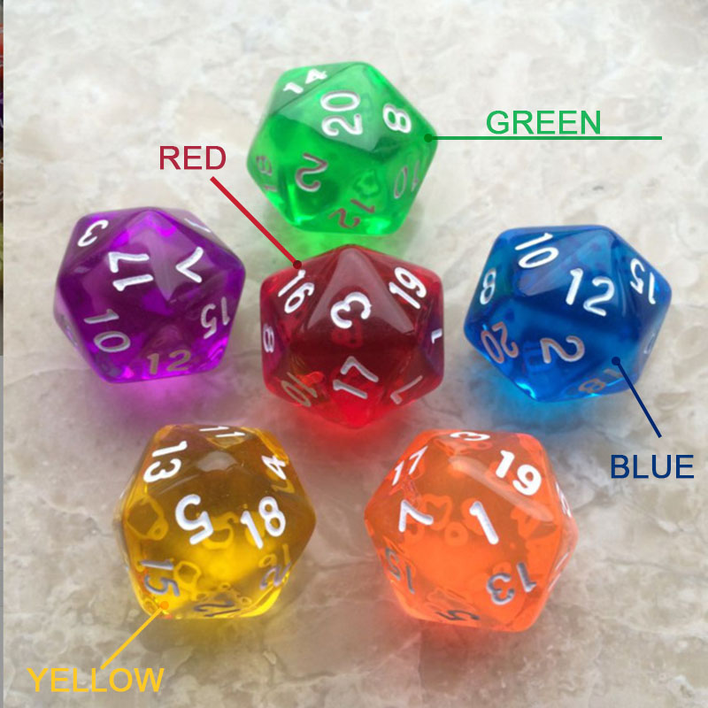 Dungeons And Dragons 1PC Polyhedral Dice Romance Transparent Color Dragons And Dungeons Portable Dnd Dice Board Game Accessories