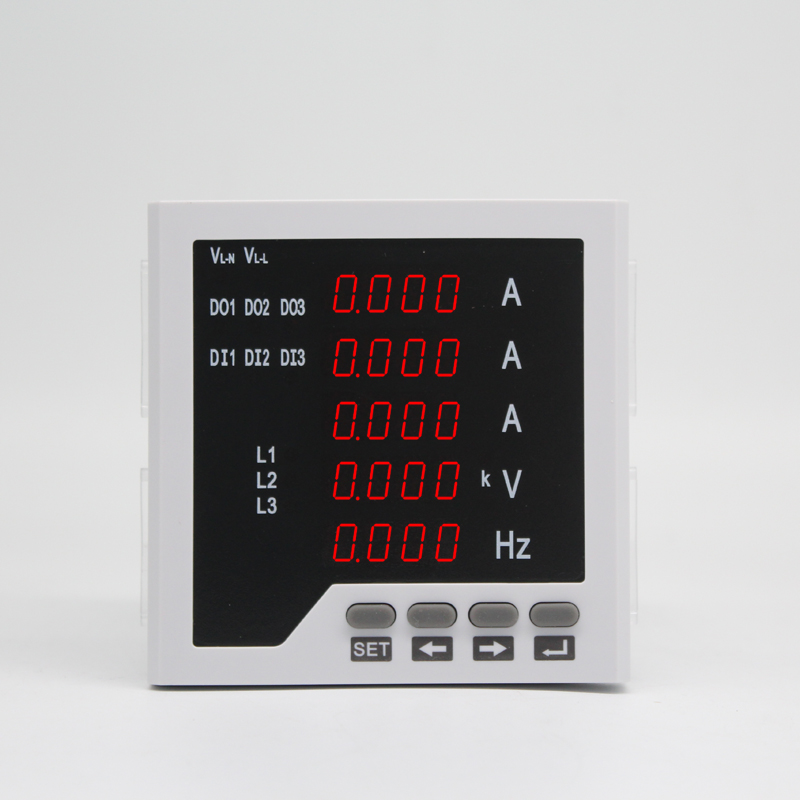 3 phase ampere voltage frequency multifunction meter with high alarm relay output and low alarm relay output with RS485 function