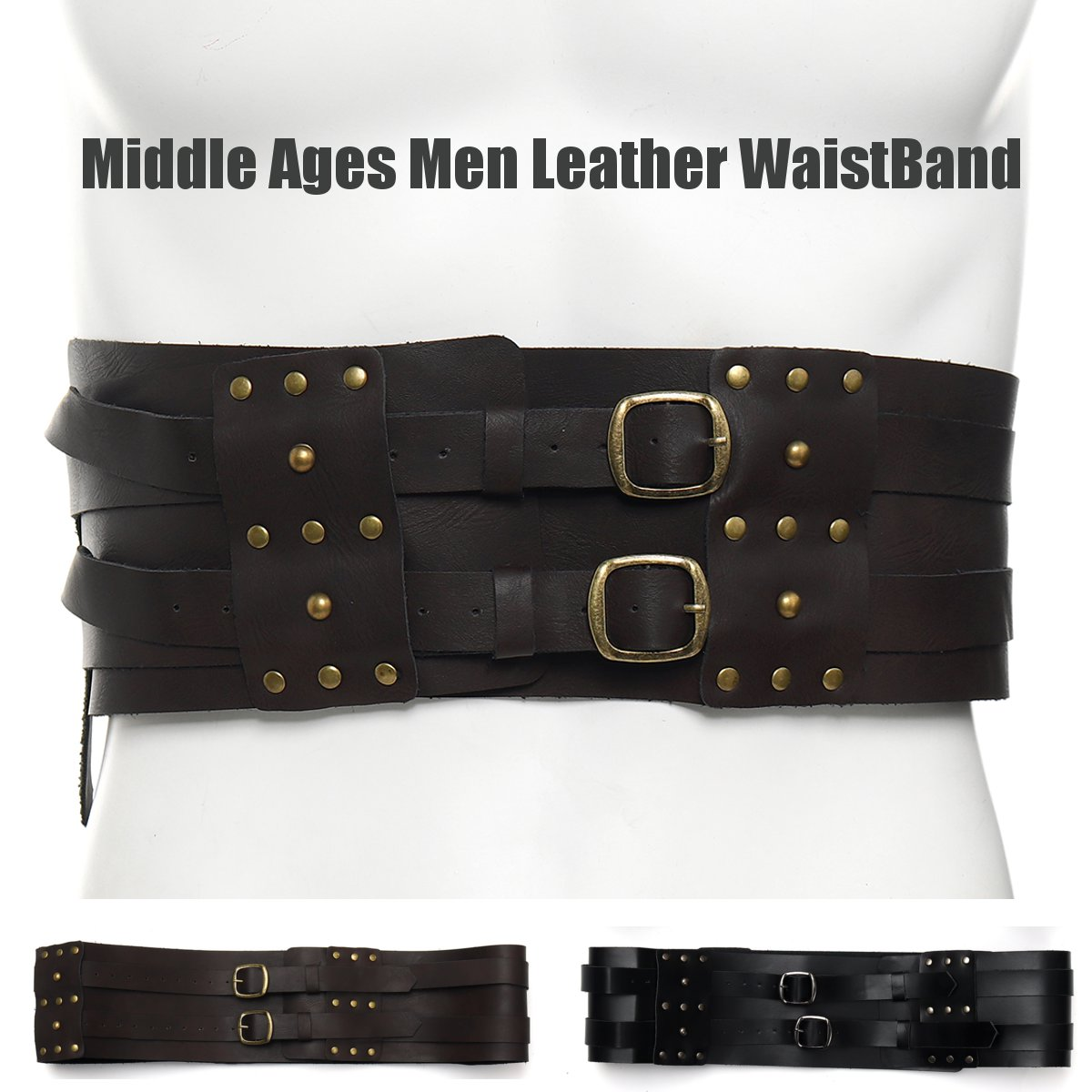 Middle Ages Men Leather WaistBand Fashion Waist Belt Party Cosplay Costume Kit Apparel Accessories Corset 110x10cm 2 Colors