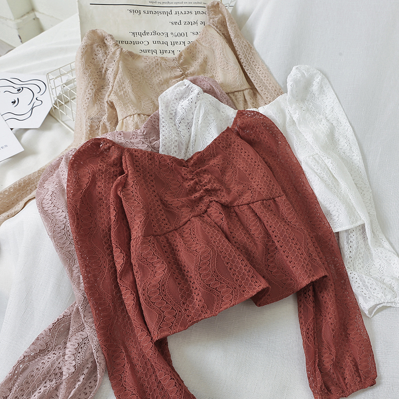 Lace Hollow Out Women Blouse 2020 Summer New Square Collar Long-sleeved Ruffles Solid Loose Lady Elegant Pulls Outwear Tops