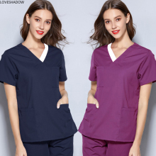 Medical Clothes Women V Collar Scrub Top Pure Cotton Short Sleeve Elastic Belt Drawstring Pants Pharmacist Surgical