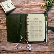 Cahier en cuir synthétique polyuréthane souple Journal A5 A6 rétro reliure à feuilles mobiles Agenda 2021 planificateur bloc notes école bureau quotidien hebdomadaire Plan livre
