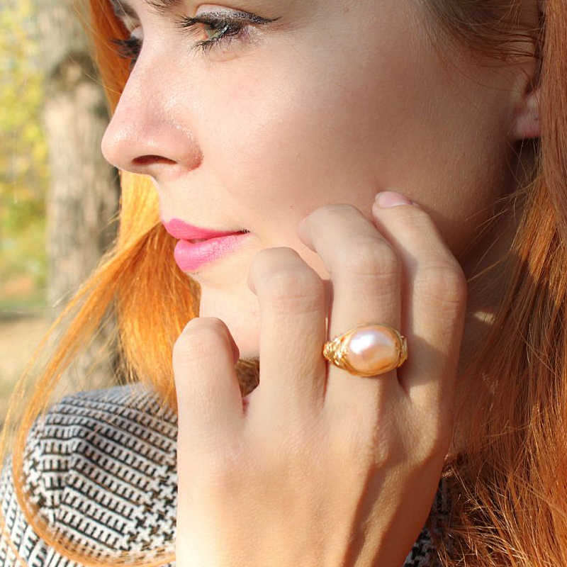 Handmade Creative Opening Ring Natural Fresh Water Pearl Ring For Women Baroque Pearl Ring Girl light luxury Wedding Party