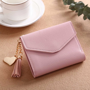 Women's Wallet Cute Student Tassel Pendant Short Wallet Trend Small Fashion PU Wallet 2020 Coin Purse Ladies Card Bag For Women