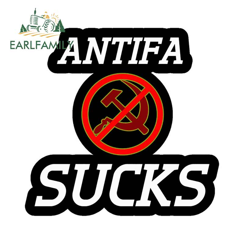 EARLFAMILY 13cm x 12.6cm For ANTIFA SUCKS Car Stickers And Decals Scratch-Proof Car Door Protector Vinyl Car Wrap Sticker
