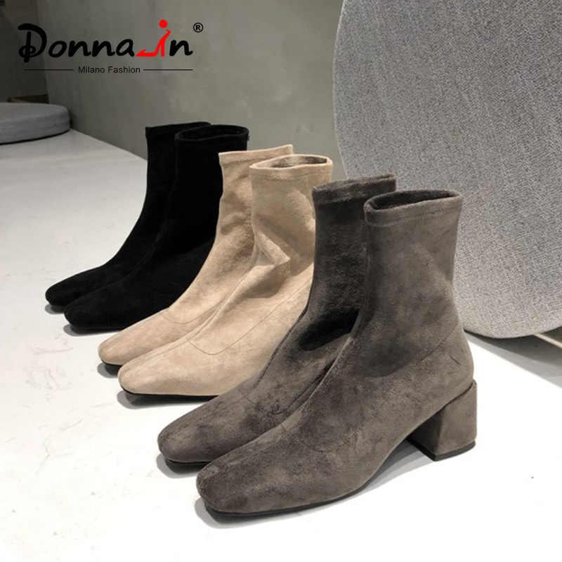 Donna-in sıcak elastik akın sonbahar kış çizmeler kadınlar katı bayanlar üzerinde kayma çizmeler yüksek topuklu rahat kalın peluş kar botları
