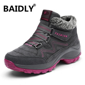 Image 1 - Caminhadas sapatos para mulher de couro real antiderrapante ao ar livre caminhadas botas sapatos de trekking à prova dwaterproof água esporte tênis de acampamento sapatos esportivos