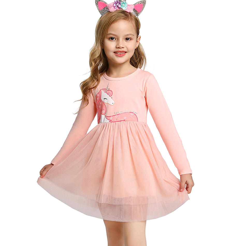 New Unicorn Dress for Girl Kids Pattern Long Sleeve Casual Wear Children Cute Cartoon Tutu Dress Party Spring Soft Tulle Vestido 1