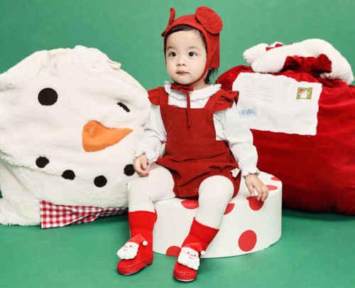 2019 Xmas Cho Bé Mềm Mại Quà Giáng Giày Giày Kid Cho Bé Hoạt Hình Đỏ Mút Chống trơn trượt Giáng Sinh Giày Bốt Ấm Áp tầng Trơn Tất