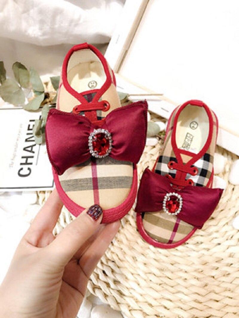 2019 nouveau printemps poupée Bow toile chaussures pour enfants à la main exquis rouge Plaid eau perceuse perle unique chaussures