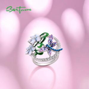 Image 4 - SANTUZZA Silver Ring For Women Pure 925 Sterling Silver Delicate Dragonfly Flower Cubic Zirconia Fashion Jewelry Handmade Enamel