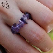 Momiji Boho Natural Stone Energy Rings Women Handmade Stretchy Fashion Jewelry Adjustable Crystal Wedding Party Ring Wholesale