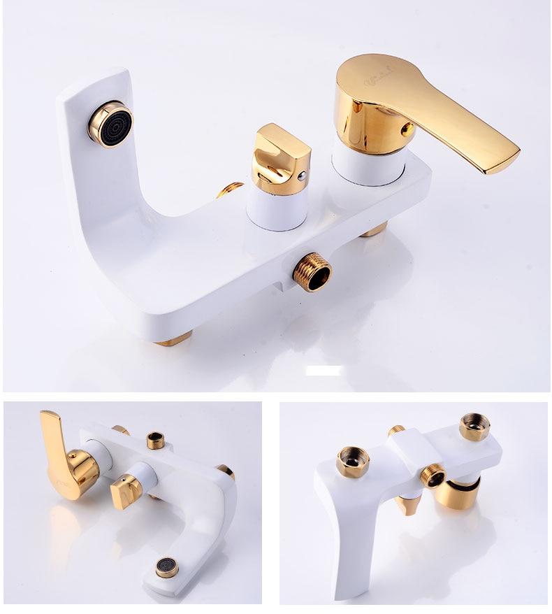 Hd02a1457aea24ddf9267990672219f16O Shower Set SDSN White Gold Bathroom Shower System Quality Copper Brass Bathtub Faucet Rainfall Shower Head Spa Bath Shower Sets