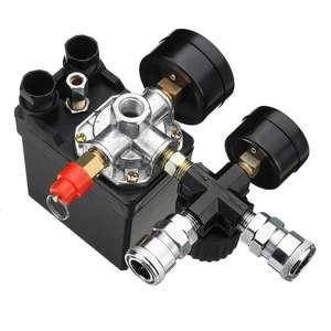 Image 5 - Commutateur de contrôle de pression de pompe de compresseur dair 4 ports 220V/380V régulateur de décharge de collecteur 30 120PSI soupape de commande avec jauge