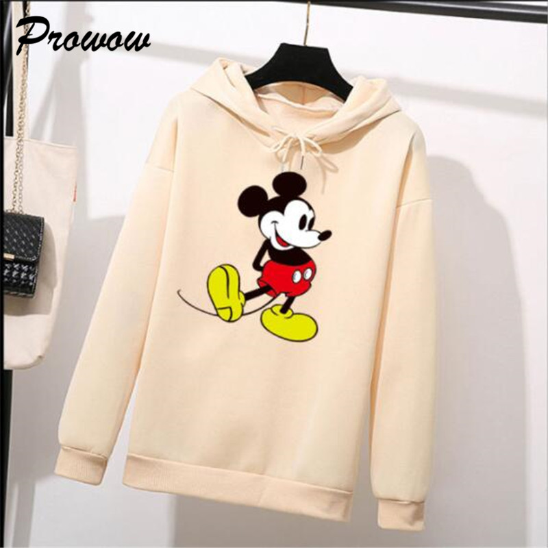 Women Sweatshirts Cartoon Mickey Hoodies Fashion Female Printed Casual Pullover Large Plus Size Women's Hoodie Warm Pullover Top