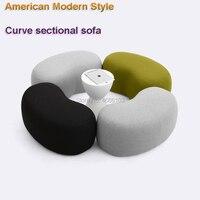 2019 Nova Curva de Estilo Americano Moderno seccional conjunto de sofá sala de estar mobiliário sofá pufes fezes tecido de Cashmere