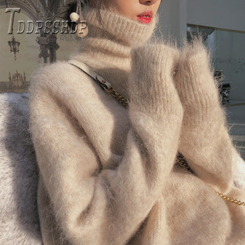 Winter Basic Women Sweaters New Chic Turtleneck Pullovers Solid Color Female Jumper Ladies image