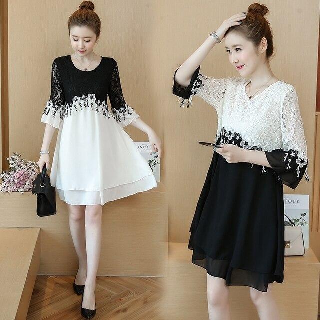55 100kg Can Wear Plus Size New Arrival Above Knee Mini A line Chiffon Women Contrast Color White Black Lace Cocktail Dresses