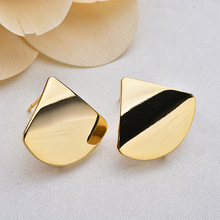 (121) 6PCS 20x23MM 24K Gold Color Plated Sector Glossy Surface Stud Earrings High Quality DIY Jewelry Making Findings
