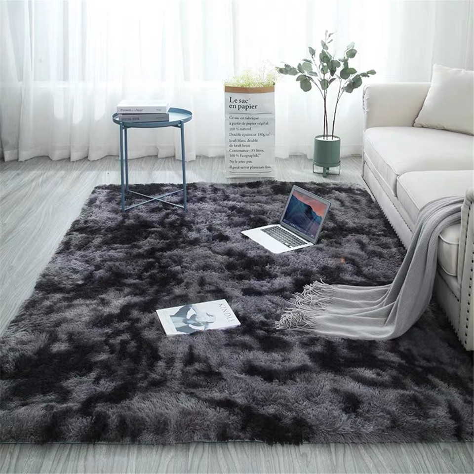 Rectangle Carpet With Long Pile Tie Dyeing Gradient Fluffy Rug Fuzzy Bedroom Modern Nodic Style Coffee Table Mat Grey 140x200 CM