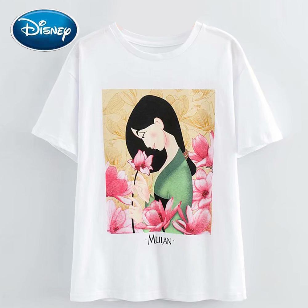 Disney Chic Fashion Mulan Floral Cartoon Print Cute Women T-Shirt O-Neck Pullover Short Sleeve Cotton Loose Tee Tops 2 Style