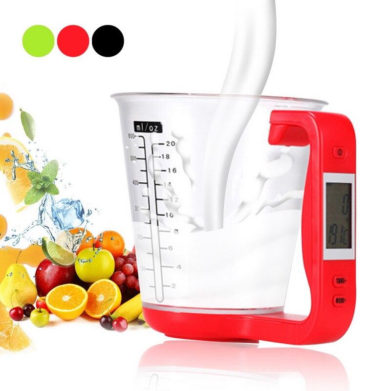 Balança digital com copo de medição, balança eletrônica com display lcd e medição de temperatura, 1000g/1g copos xícaras