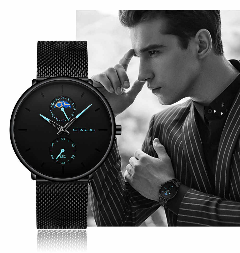 Reloj de cuarzo de lujo de marca superior para hombre, reloj deportivo impermeable, de acero, de malla delgada, informal, para hombre