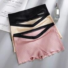 Боксерские брюки, высокие эластичные одноцветные бесшовные безопасные угловые брюки для женщин, противоосветительные защитные штаны под шорты, леггинсные шорты