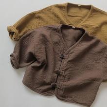 Jacket Coat Cardigan Baby-Boys-Girls Spring Linen Japan-Style Autumn Korean Cotton Long-Sleeve