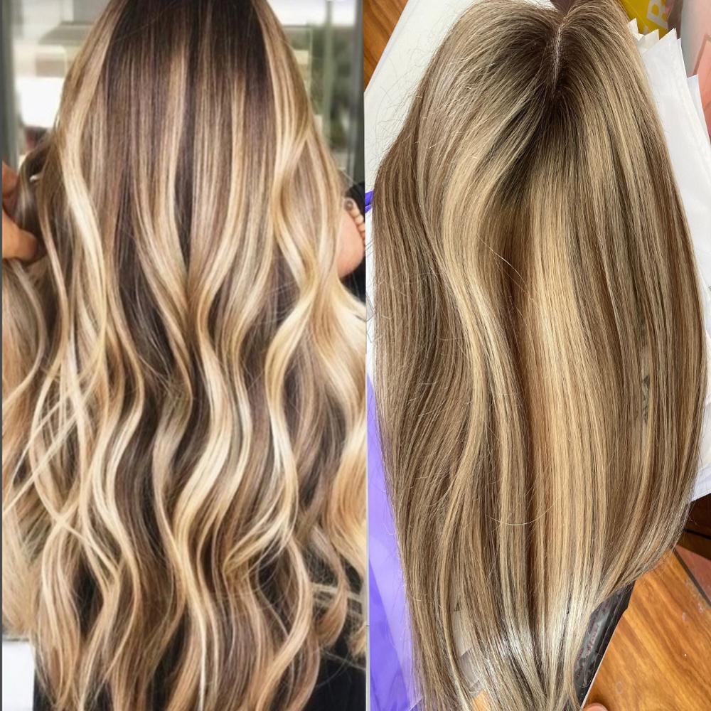 Светлый цвет Корона верхние моноблок волос с клипсой для женщин полный кружевной Реми Натуральный человеческие волосы парик для филировки