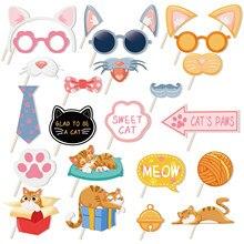 25 pçs/set Doce Gato de Estimação Patas dos Gatos Tema Photo Booth Props Photobooth Adereços de Festa da Festa de Aniversário Feliz Suprimentos